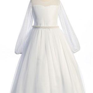Long Mesh Sleeve Pearl First Communion Dress