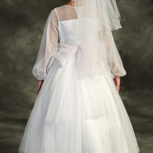 Long Mesh Sleeve Pearl First Holy Communion Dress