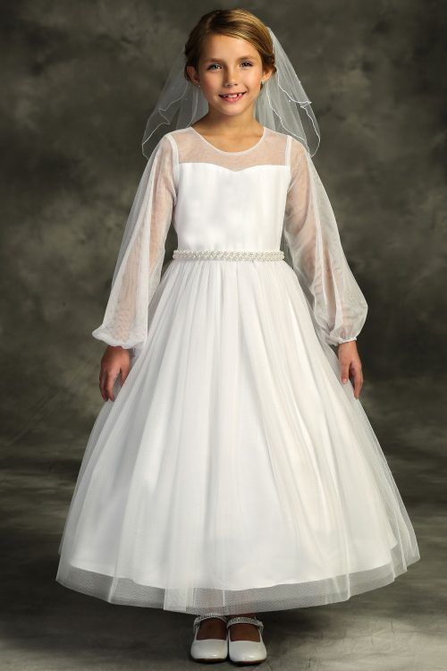 Long Sleeve Pearl First Communion Dress