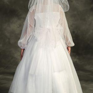 Long Sleeve Pearl Waist First Communion Dress