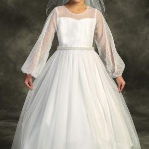 Mesh Long Sleeve Pearl First Communion Dress