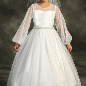 Mesh Long Sleeve Pearl First Communion Dress