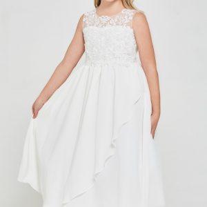 Modern Embroidered lace chiffon First Communion Dress