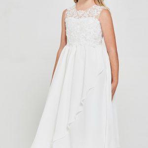 Pretty Embroidered lace chiffon First Communion Dress