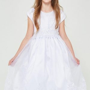 Pretty Short Sleeve First Communion Dress with Lace
