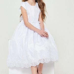 Short Sleeve First Communion Dress with Lace