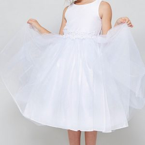 Solid tulle First Communion Dress Satin Bodice