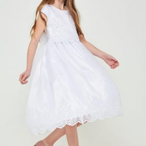 Stylish Short Sleeve First Communion Dress with Lace