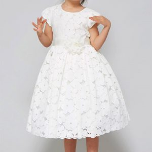 Tea Length Cotton floral lace flared First Communion Dress