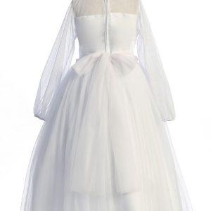 Tea Length Long Mesh Sleeve Pearl First Communion Dress