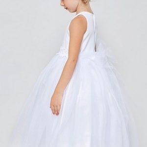 Tea Length Solid tulle First Communion Dress