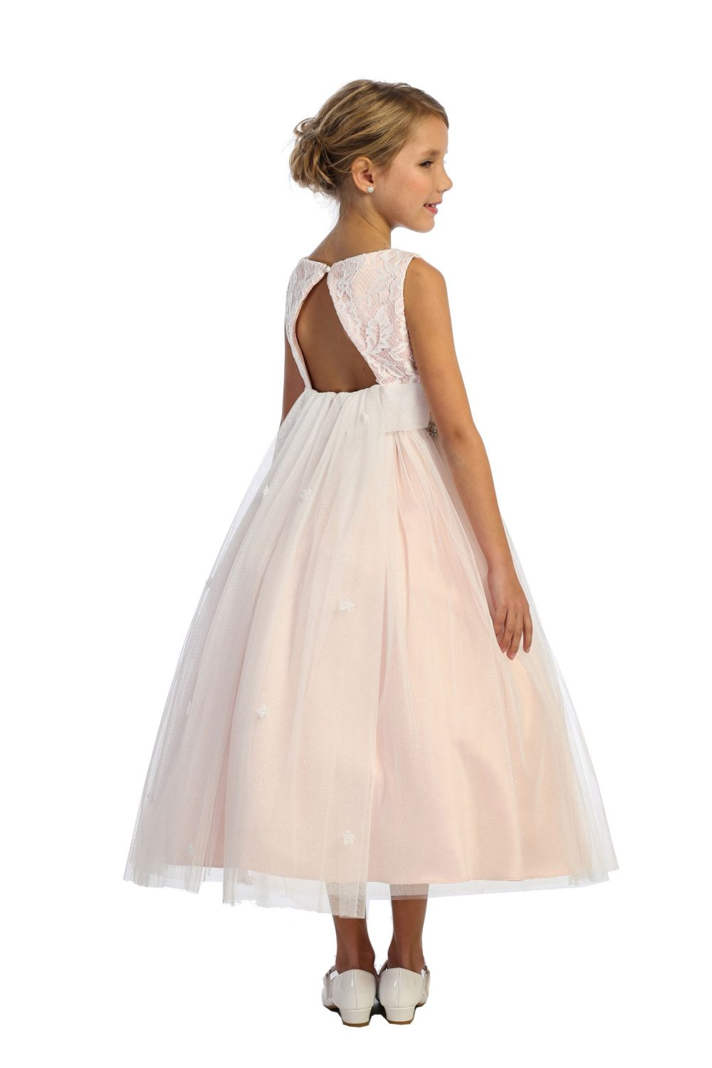 Triangle Cut Out Dusty Rose Waterfall First Communion Dress