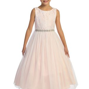 Triangle Cut Out Mesh Waterfall Dusty Rose Flower Girl Dress