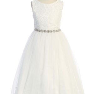 Triangle Cut Out Mesh Waterfall First Communion Dress