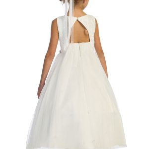 Triangle Cut Out Mesh Waterfall First Holy Communion Dress