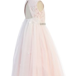 Triangle Cut Out Mesh Waterfall Rose Flower Girl Dress