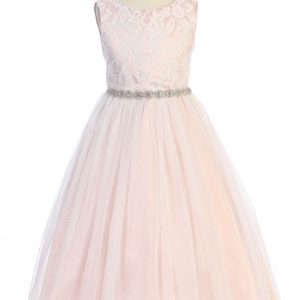 Triangle Cut Out Rose Waterfall Flower Girl Dress