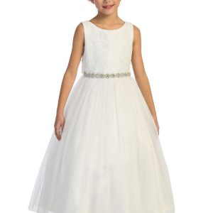 Triangle Cut Out Waterfall First Communion Dress