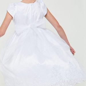 White Short Sleeve First Communion Dress with Lace