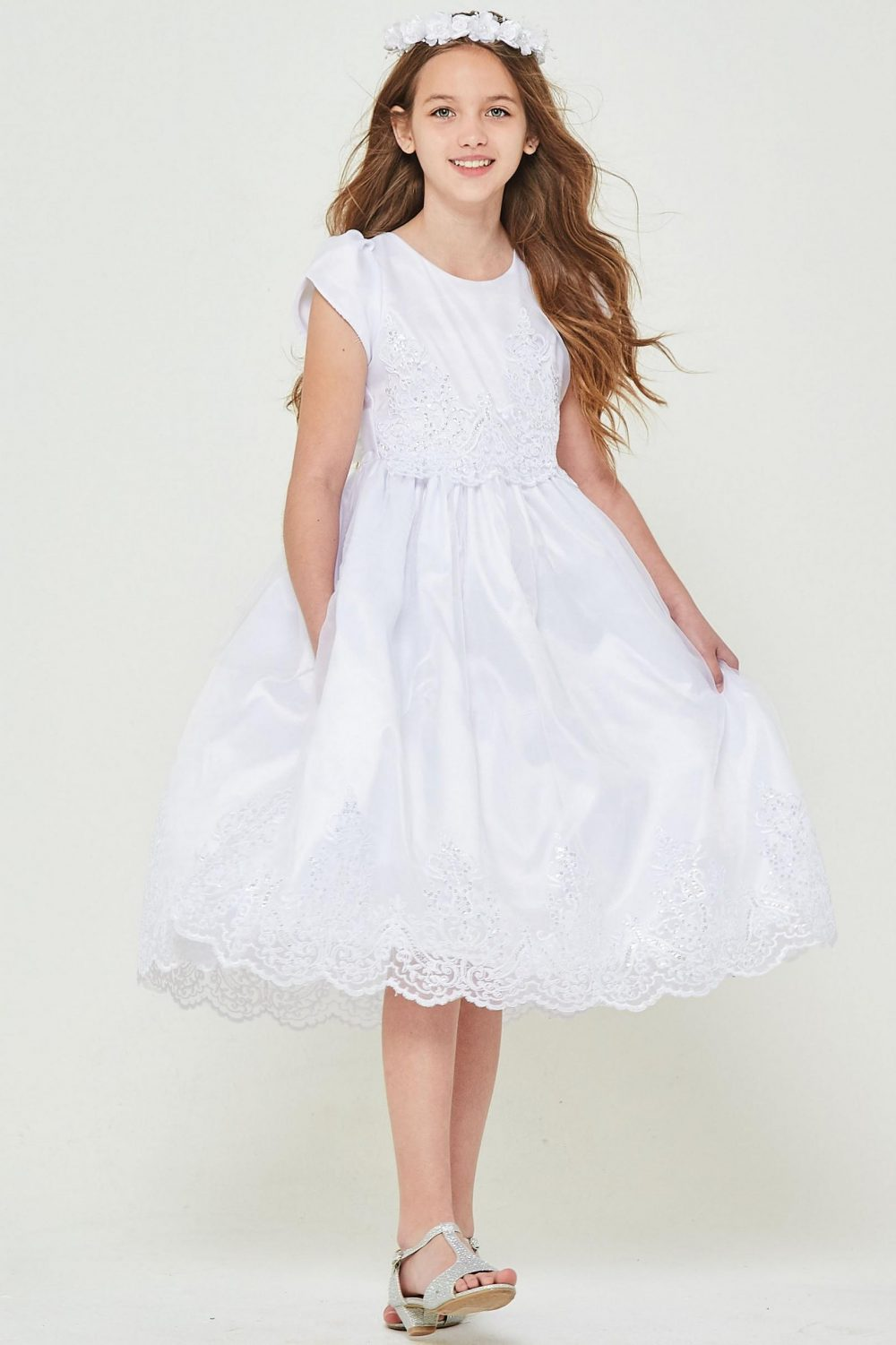 cheap Short Sleeve First Communion Dress with Lace
