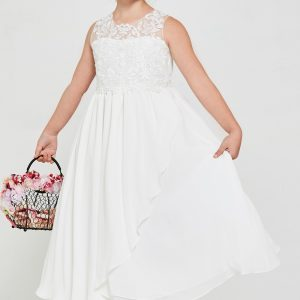 tea Length Embroidered lace chiffon First Communion Dress