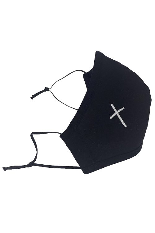 Black Cotton First Communion Face Mask with Cross