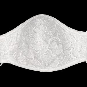 White First Communion Face Mask with Lace Overlay