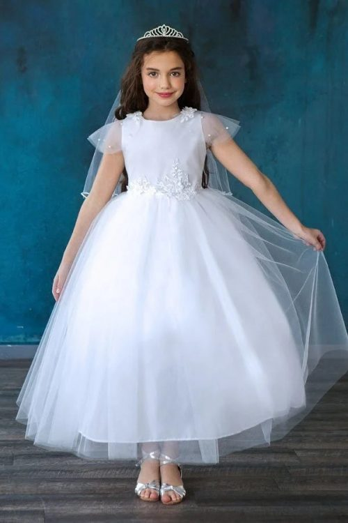 Cap Sleeve First Communion Dress with Pearl and Lace