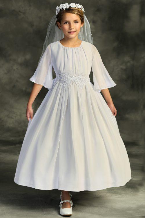 Chiffon Butterfly Sleeve Long First Communion Dress