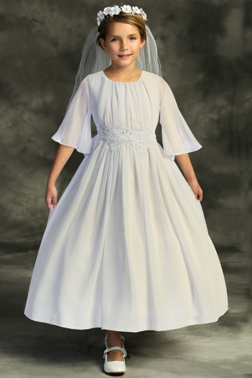 Chiffon Butterfly Sleeve Long First Communion Dress