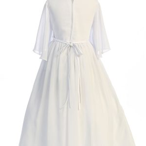 Chiffon Butterfly Sleeve Long First Communion Dress Back