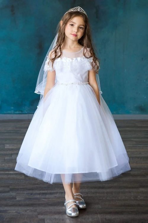 First Communion Dress with Lace Shoulders