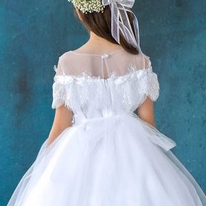 First Communion Dress with Lace Trim