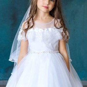 First Holy Communion Dress with Lace Shoulders