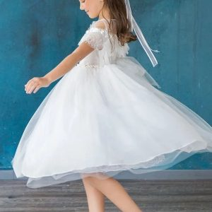Girls Communion Dress with Lace Shoulders