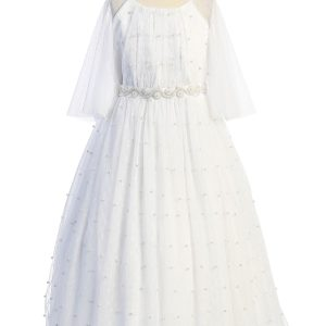 Pearl Mesh Butterfly Sleeve Holy Communion Dress
