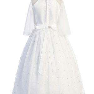 Pearl Mesh Butterfly Sleeve Long Dress Back