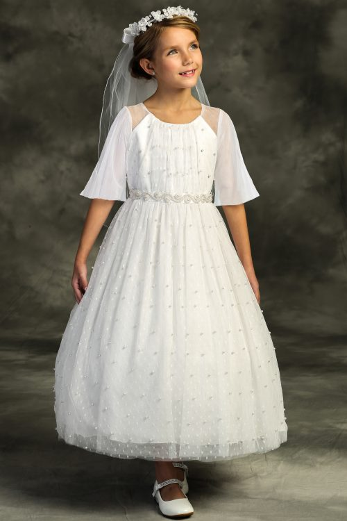Pearl Mesh Butterfly Sleeve Long First Communion Dress
