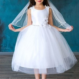 Satin Flower Bodice Tulle First Communion Dress