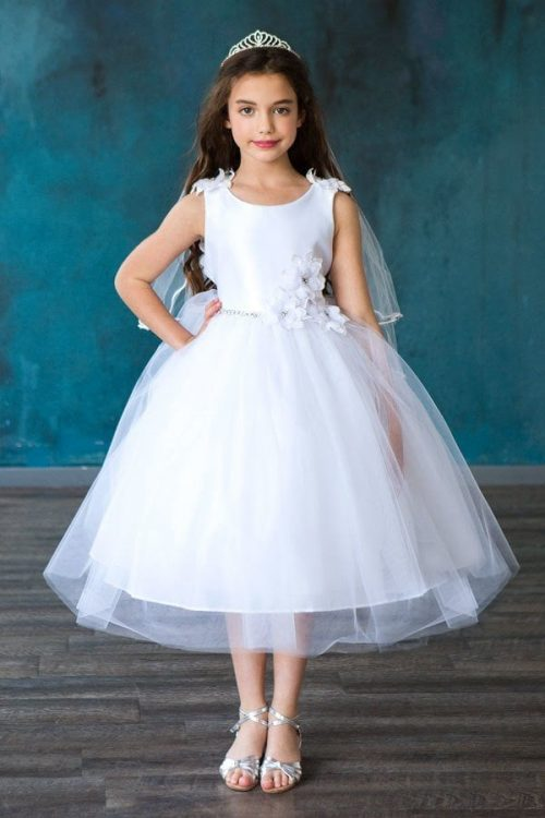 Satin Flower Bodice with Tulle Dress