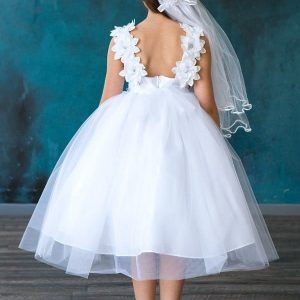 Satin Flower Tulle First Communion Dress