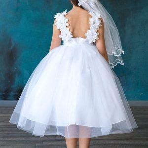 Satin Flower Tulle First Communion Dress