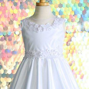 Satin Flowers First Communion Dress