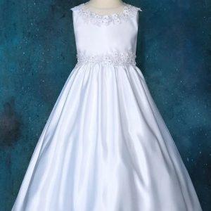 Sleeveless Long Satin First Communion Dress