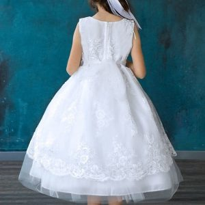 Sleeveless Overlay Flower Lace First Communion Dress