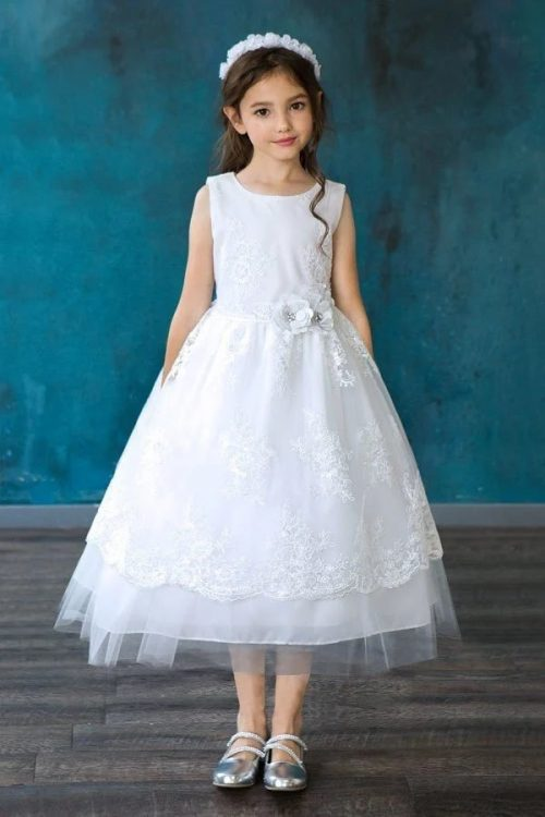 Sleeveless Overlay Flower Sequin Lace First Communion Dress
