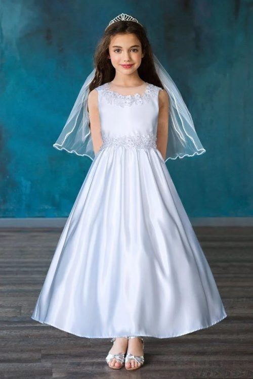 Sleeveless Satin Long First Communion Dress