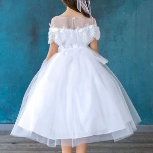 Tea Lenth First Communion Dress with Lace Shoulders