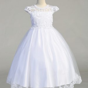 Beautiful First Communion Dress with Lace Bodice and cap Sleeves