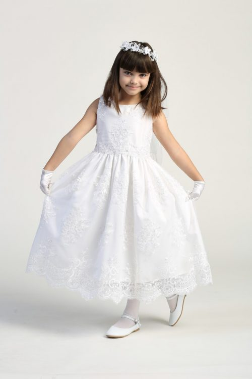 Corded embroidery lace on tulle first communion dress